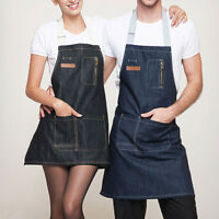 Blue/Black Denim Bib Apron with Pocket Strap Barber Barista Florist Chef Uniform
