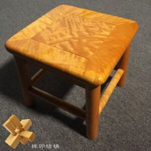 Children Small Square stool Silkwood Golden Phoebe Wood Gold thread Nan金絲楠木#1182