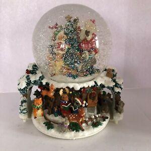 Vintage Kirkland Musical Christmas Snow Globe Revolving Base Santa Tree