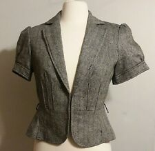 Ann Taylor Loft 4 Short Sleeve Blazer Jacket Wool Silk Rayon Gray Black Women's