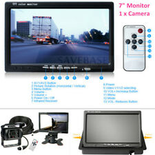 "7"" HD LED Backlight RV Truck Bus Monitor + 4pin IR Night Vision CCD Rearview Cam"