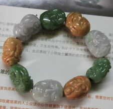 Superb JADE Certified A Natural Multi-Color Jadeite Eighteen Lohan Bracelet
