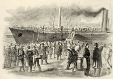 Civil War Burnsides Troops Board USS Hussar at Annapolis Maryland Vintage Print