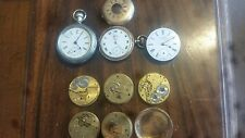 TWO ANTIQUE USA WALTHAM POCKET WATCHES & 6 MOVEMENTS & ELGIN PARTS FOR REPAIR
