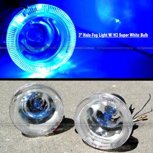 """For H3 H1 3"""" Round Super White Blue Halo Bumper Driving Fog Light Lamp Kit"""