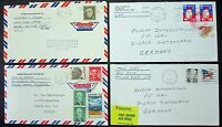 US Postage Stamp Cover Worldpost Airmail to Germany Mif - 4x USA Letter (L-4122