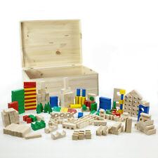 HolzFee 210 bunte Bausteine XL mit Kiste Holz Bauklötze Holzbausteine Holzklötze