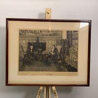 Antique 1893 Framed Signed Etched Print By Walter Dendy Sadler & James Dobie
