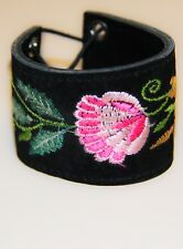 Ties and Pink Flower Br1178 Black Embroidered Suede Cuff with