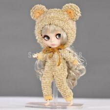 1/6 Doll Bear Clothes Outfit & Hat for 12'' Blythe Dolls Dress Light Khaki