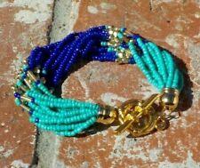 Ladies Bracelet Toggle Clasp Free Ship Blue & Turquoise Bead Multi Strand Boho