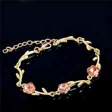 New Pink Crystal Flower 18K Gold Plated lady's Bracelet Adjustable Chain Bangle