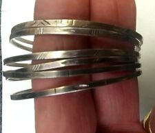 "VINTAGE SET OF 6 STERLING BANGLE BRACELETS 2 1/2""  DIAMETER EACH MARKED"