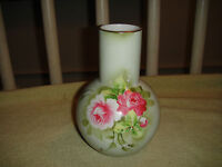 Vintage Lefton China Japan Bulbous Vase Pink Roses Green Vase 1266