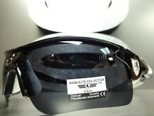 NEW MOTORCYCLE BIKER RIDING SPORT WRAP SUN GLASSES Black White Frame - Dark Lens