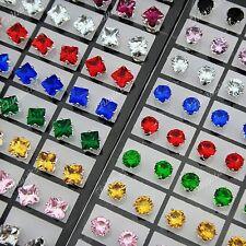 Fashion Jewelry 144pcs Cubic zircon Stainless Steel Stud Earrings Wholesale Lots