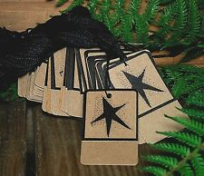 50 STAR Kraft Price Tags - Perforated & Pre Strung on Heavy stock - Primitive