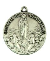 Our Lady of the Rosary of Fatima 1 Inch Sterling Silver Virgin Mary Pendant