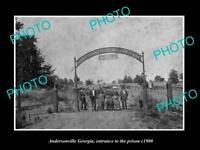 OLD POSTCARD SIZE PHOTO ANDERSONVILLE GEORGIA THE PRISON ENTRANCE c1900