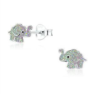 925 Sterling Silver Grey Glitter Elephant Enamel Stud Earrings Kids Girls Cute