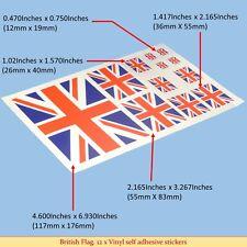 Union Jack, British Flag Sticker 12 X Vinyl Sticker Decals Self Adhesive Backing