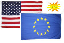 3x5 3'x5' Wholesale Set (2 Pack) USA American & European Union Flag Banner