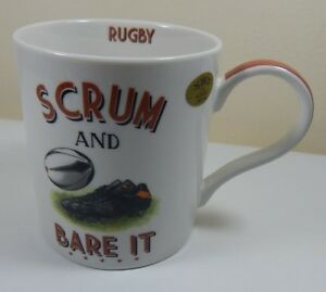 "NOVELTY RUGBY COFFEE TEA MUG "" SCRUM & BARE IT "" BOXED GIFT FUN"