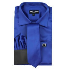Mens Satin Silky Feel Smart Casual Double Cuff Wedding Party Formal Dress Shirt 6xl Blue