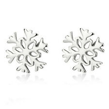 Small Elegant Winter Christmas Collection Silver Snowflake Studs Earrings E912