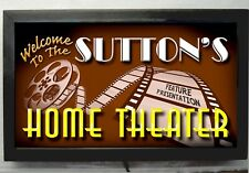 "XXL 24""LONG HOME MOVIE THEATER SIGN -LED -PERSONALIZED HOME CINEMA WALL DECOR"