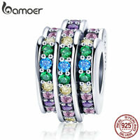 Bamoer European S925 Sterling Silver Spacer charm Rainbow For Bracelet Jewelry