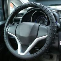 Non-slip Universal Car Silicone Steering Wheel Cover Black Protector For 33-38cm