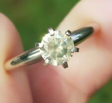 0.69ct Natural Champagne Diamond Solitaire 14K White Solid Gold Ring Engagement