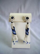 Vintage Blue & White Southwestern Hand Made Seed Bead Dangle Screw Back Earrings