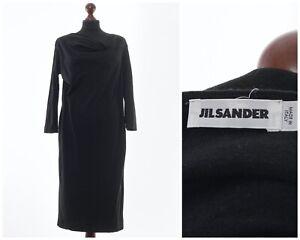 Women's JIL SANDER Long Sleeve Sheath Dress Black Size EU 44 US 12