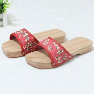 Womens Clogs Japanese Geta Wooden Floral Sandals Slippers flat Shoes Chic 0406