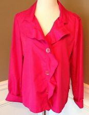 Armani Collezioni Sz 10 Bright Pink 3 Button Closure Collared Lt Weight Jacket