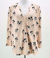H&M Women's Pink Palm Tree Printed 3/4 Sleeve Split Neck Blouse Size Medium