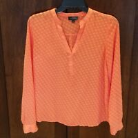 THE LIMITED Sheer Blouse Small Shirt Coral Notch V-Neck Pullover Texture Top EUC