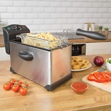 3L Electric Deep Fat Chip Fryer Non Stick Pan & Safe Basket Handle Brushed Steel