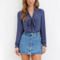 Women V-Neck Fashion Chiffon Blouse Top T-Shirt Long Sleeve Casual Shirt 34CA