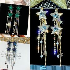 925 Sterling Silver Ear Stud Crystal Rhinestone Star Long Tassel Earrings H9