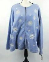 Croft Barrow Women's Blue Fleece Snowflake Zip Jacket Size 3XL New Free Shipping