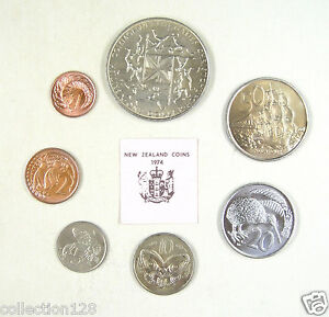 New Zealand Coins Set of 7 Pieces 1974 Almost Uncirculated