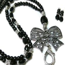 Beaded necklace lanyard, id badge holder, Black Bow Charm pearl and crystal