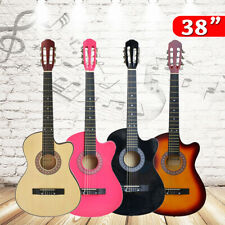 38 Inch Wooden Acoustic Guitar Maple Wood Beginner Student Basic Guitar a O
