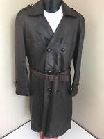Vtg 70s Men GOAT SKIN Leather TRENCH Coat BELTED Steampunk MORPHEUS DB Jacket 40