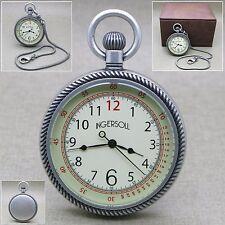 INGERSOLL 50 MM  Antique Silver Quartz Pocket Watch Heavy Solid Brass NEW 47B