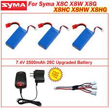3Pcs amélioré 7.4V 2500mAh Batterie Lipo+Chargeur Pour Syma X8C X8W X8G A2