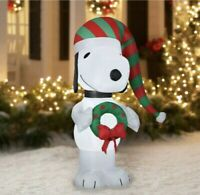 5 Ft Peanuts Snoopy Wreath LED Airblown Inflatable Christmas Yard Ornament Decor